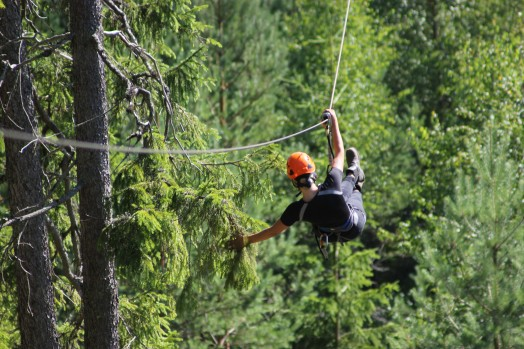 Person som åker zipline i skogen